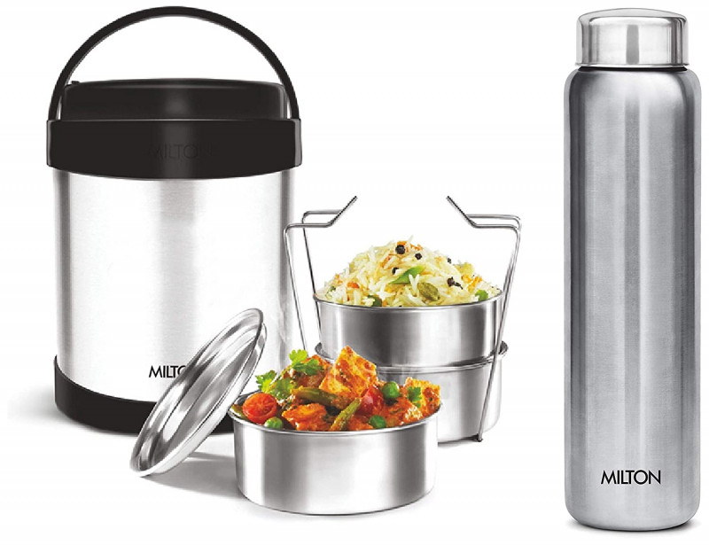 Milton Royal 3 Insulated Steel Tiffin Box 1.8 & Stainless Steel Water Bottle 950ml Silver Combo